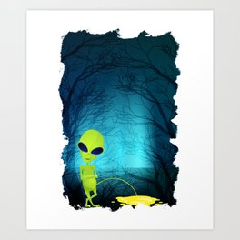 Funny Alien Pee Break -UFO Art Print