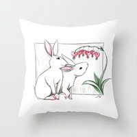 rabbits Throw Pillows featuring Rabbits by LyndaParker