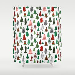 Christmas tree forest minimal scandi patterned holiday forest winter Shower Curtain