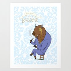 Tea Time with a Bison Art Print