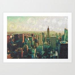 New York City Skyline Vang Gogh Style Oil Painting Art Print