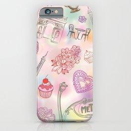 Famous Paris symbols pattern iPhone Case