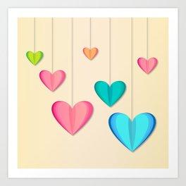 Hangin Hearts Art Print