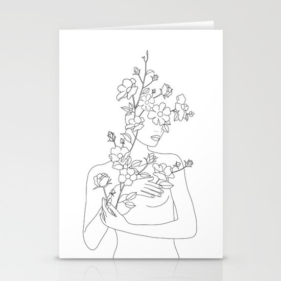 Minimal Line Art Woman with Wild Roses by nadja1
