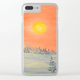 winter trees snow and sun . artwork Clear iPhone Case