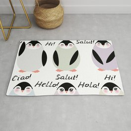 Funny penguins on white background. Hello in English Spanish Italian German French Language. Rug