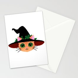 Witch hat cat Stationery Cards