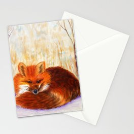 Red fox small nap | Renard roux petite sieste Stationery Cards