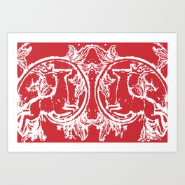 twin dancing stags of asheville from a wood carving Art Print