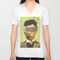 creepy V-neck T-shirts featuring UNCLE CREEPY by Julia Lillard Art