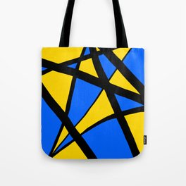Yellow and Blue Triangles Abstract Tote Bag
