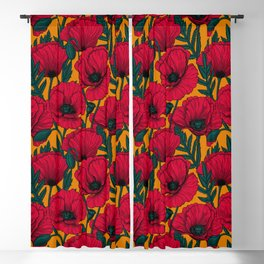 Red poppy garden    Blackout Curtain