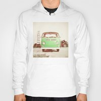 volkswagon Hoodies featuring Vintage Volkswagen Bus (Green Edition) by Laura Ruth