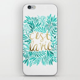 That's Life – Turquoise & Gold iPhone Skin