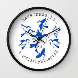FILTHY BLUE BIRDS Wall Clock
