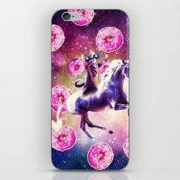 Thug Space Cat On Unicorn - Donut iPhone Skin