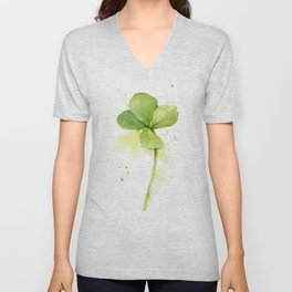 Clover Watercolor Four Leaf Clover Unisex V-Neck