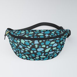 Terrazzo in Peacock Blue and Mint on Black Fanny Pack