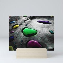 Abstract Art - Colored Drops of Rain on black background Mini Art Print