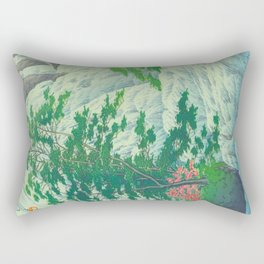 Kawase Hasui, Waterfall, Japanese Woodblock Print Ukiyo-e, Shin-hanga, Landscape Rectangular Pillow