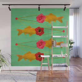 fishes and flowers Wall Mural