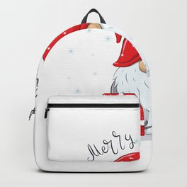 Cute Cheerful Gnome With Phrase Merry Christmas Backpack