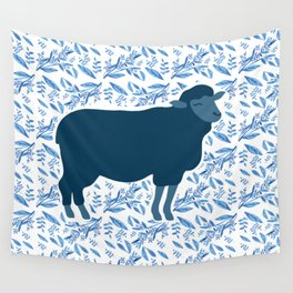 Sheep on floral pattern Wall Tapestry