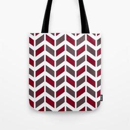 Dark red, gray and white chevron pattern Tote Bag
