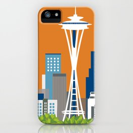 Seattle, Washington - Skyline Illustration by Loose Petals iPhone Case