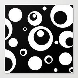 Circles Dots Bubbles :: Black Pepper Canvas Print