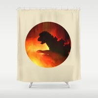godzilla Shower Curtains featuring godzilla by avoid peril
