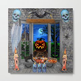 Halloween Pumpkin Night Stalker Metal Print