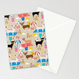 Miniature Doberman Pinscher dog beach day summer fun dog lover min pin Stationery Cards