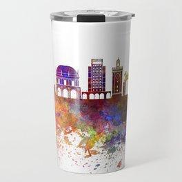 Brescia skyline in watercolor background Travel Mug