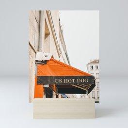 US Hot Dog stand in Paris, France   International street photography, Iconic wall art, Saige Ashton Prints Mini Art Print