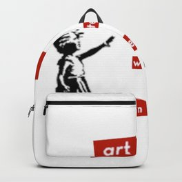 'Art is whatever you can get away' with by Angela Stimson Backpack