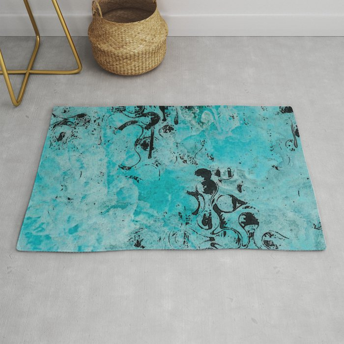 Turquoise Marble Stone with Black Ink overlay design Rug by artaddiction45