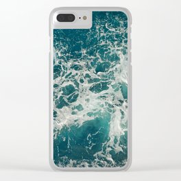 Waves in blue and white sea Clear iPhone Case