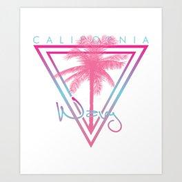 California Wavy California Surfer Palm Tree America Art Print