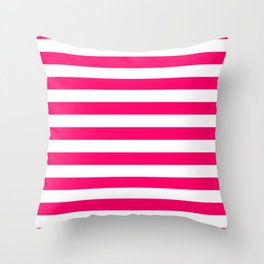Bright Fluorescent Pink Neon and White Large Horizontal Cabana Tent Stripe Throw Pillow