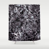 metallic Shower Curtains featuring metallic flowers by clemm