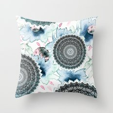 BLOOM MANDALAS IN BLUE Throw Pillow