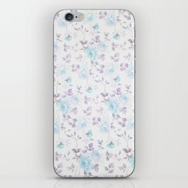 Baby blue purple vintage bohemian roses flowers iPhone Skin