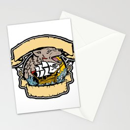 Angry Wolf Pirate Ship Banner Retro Stationery Cards