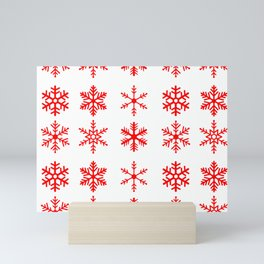 red snowflake seamless pattern Mini Art Print