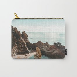California Coast | Big Sur McWay Falls Coastal Camping Road Trip Tapestry Art Print Carry-All Pouch