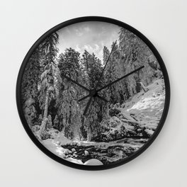 Oregon Adventures Black and White - Nature Photography Wall Clock