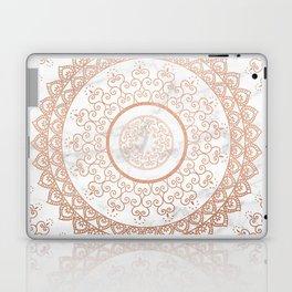 Mandala - rose gold and white marble Laptop & iPad Skin