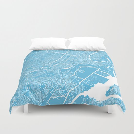 Newark map blue Duvet Cover