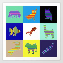 Animal Stripes Composition Art Print